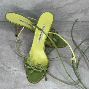 Manolo Blahnik Stiletto Green 38 Lace Up Heels